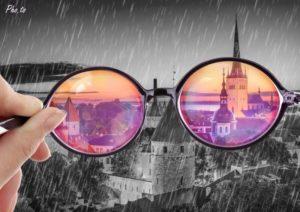 kijken door een roze bril